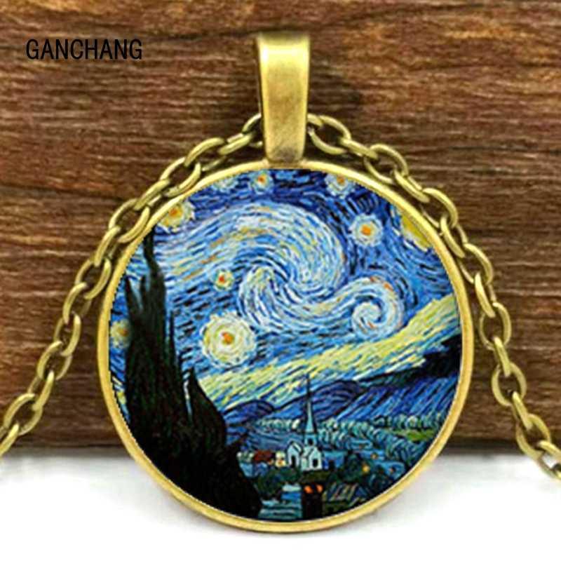 Van gogh arte pinturas a óleo colar arte cabochão de vidro jóias estrelado céu noturno girassol pingente mulher amante menina presentes