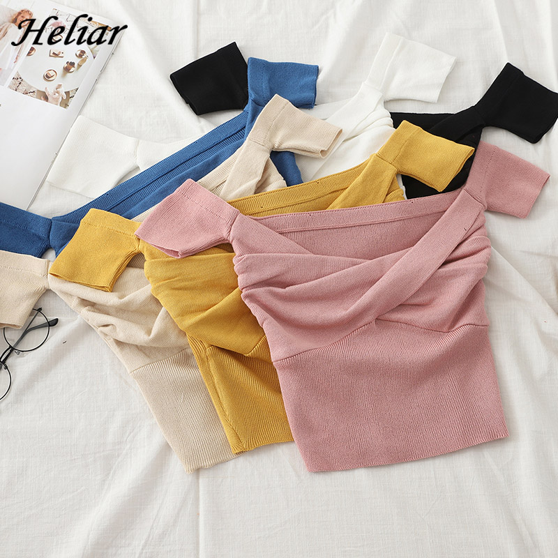 Heliar Off Shoulder Sweater Women Sexy Solid Pleated Crop Tops Small Size Highstreet 2020 Summer Tops Sweaters For Women