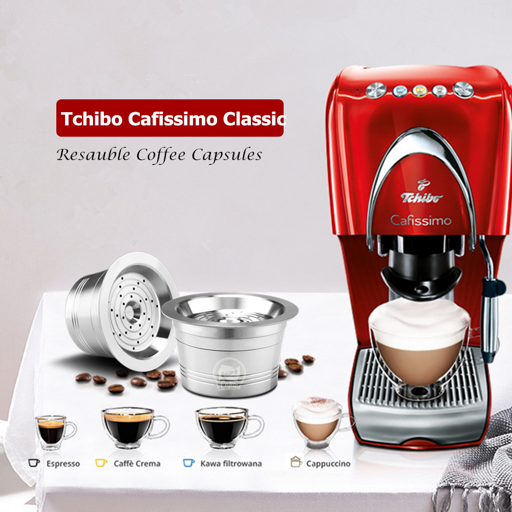 Refillable Coffee Filters For Caffitaly Tchibo Cafissimo Classic K-fee Stainless Steel Reusable Coffee Capsule & Tamper Spoon