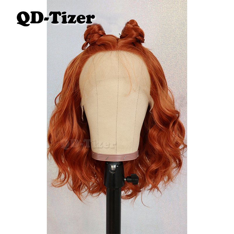QD-Tizer 13*4 Short Wavy Hair Orange Color Free Part Lace Wigs with Baby Hair Glueless Synthetic Lace Front Wigs for Women