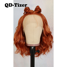 QD-Tizer 13*4 Short Wavy Hair Orange Color Free Part Lace Wigs
