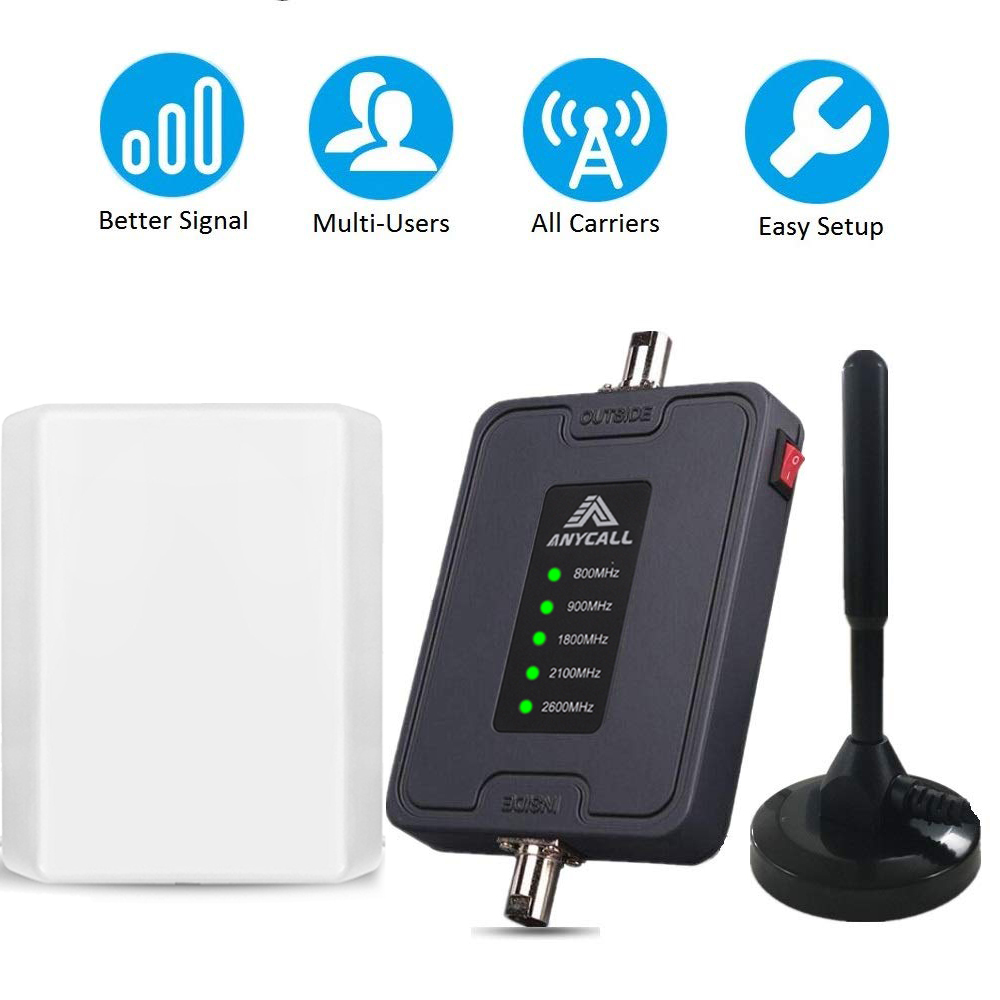 Five Band LTE Repeater 800/900/1800/2100/2600MHz 2G 3G 4G Mobile Signal Booster For Car/RV Use Cellular GSM 4G Signal Amplifiers