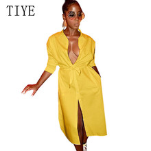 купить TIYE Long Cardigan Shirt Loose Long Sleeve Dress Female Sexy Hollow Out Single-breasted Tie-up Women Long T Shirt Bodycon Dress по цене 880.57 рублей