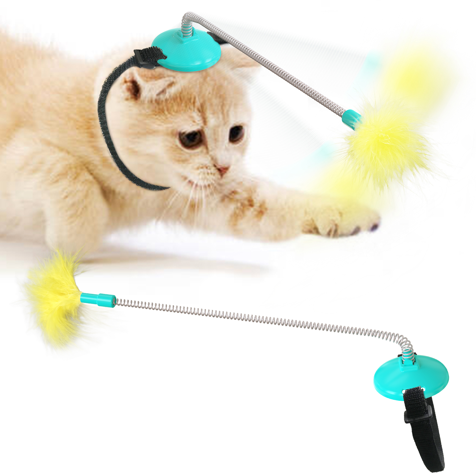 2021 New Head-Mounted Cat Toys Self Playing Interacting Pet Toy Spring and Feather Funny Cat Stick for Indoor Cats Dropshipping img1