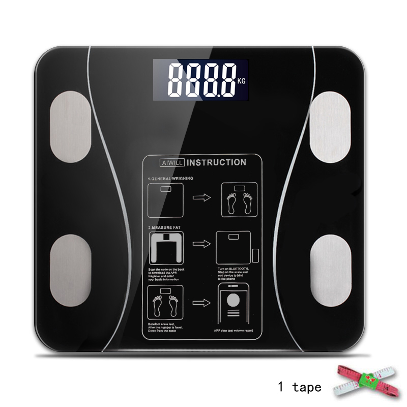 AIWILL Household LED Digital Weight Bathroom Balance Bluetooth Android or IOS Body Fat Scale Floor Scientific Smart Electronic|Bathroom Scales| |  - AliExpress