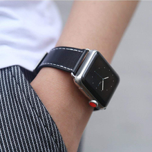 Fashion Black Watch band Genuine Leather Strap Accessories WatchStrap Wrist Band For iwatch 1 2 3 4