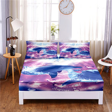 Mattress-Cover Pillowcases Bed-Sheet Print with Elastic-Band Four-Corners Dolphin Digital