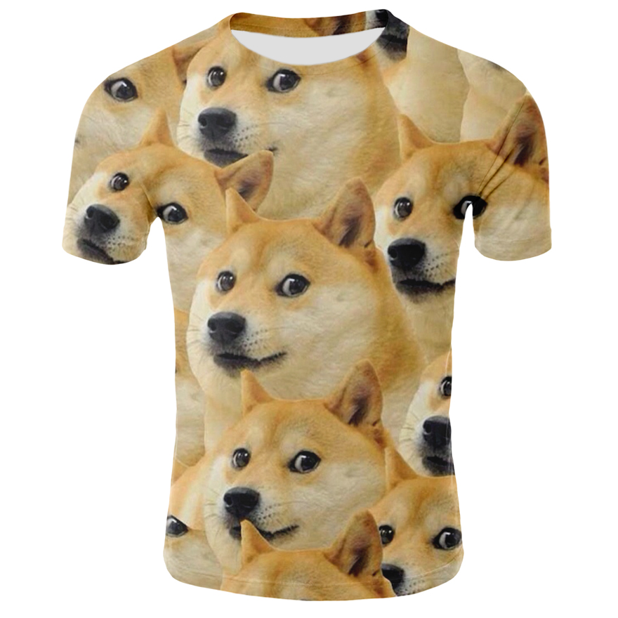 Men's 3D <font><b>Dog</b></font> <font><b>Tshirt</b></font> <font><b>Summer</b></font> Casual Short Sleeve Trendy Animal Tops Tee <font><b>Dog</b></font> Printed T-shirt Funny Streetwear Clothing image