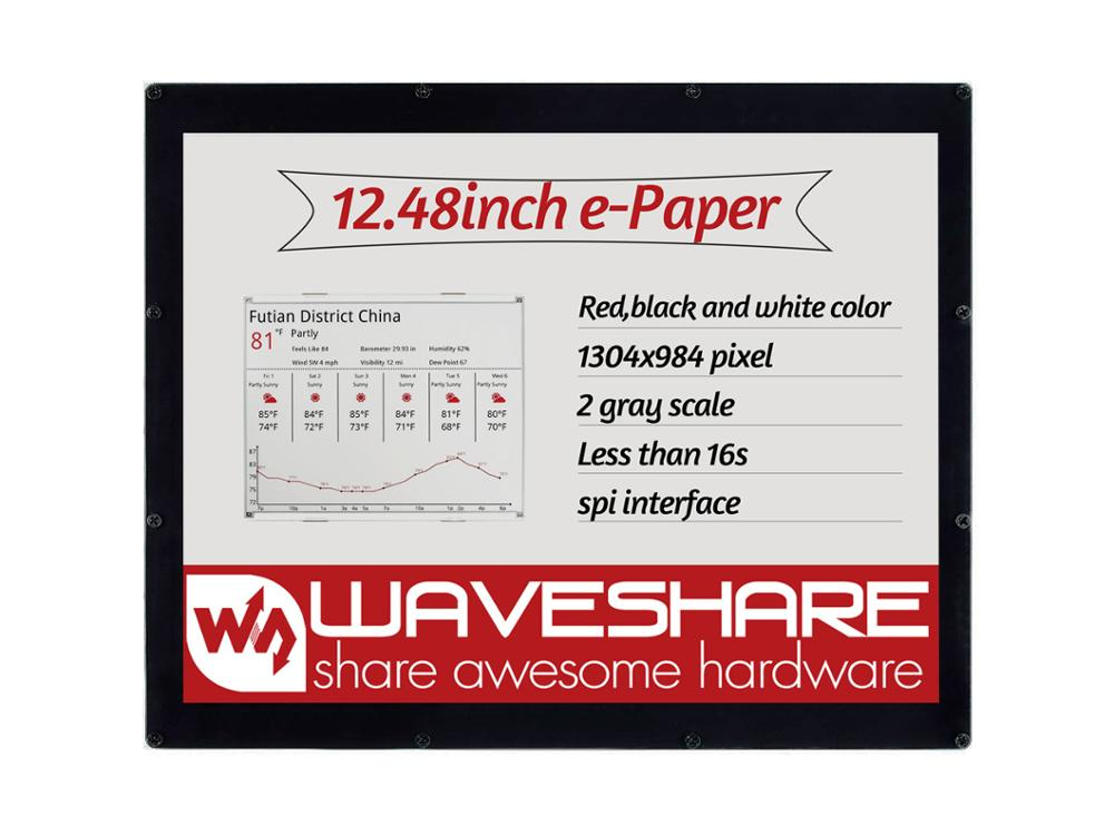 Waveshare 12.48inch E-Ink Display Module, 1304*984 Resolution,red/black/white Three-color, SPI Interface