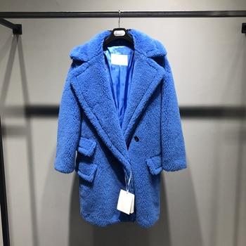 Classic Short Teddy Bear Fur Coat Alpaca Women Autumn Winter Wool Loose Coats Stylish warm teddy bear coat Blue