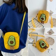 1PC Girl Avocado Canvas Bag New Buckle Creative Shoulder Cartoon Japanese Harajuku Wild Cute Messenger