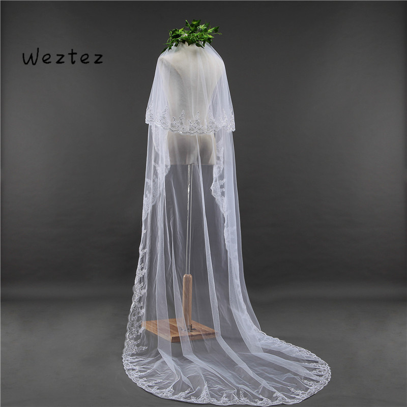 Wedding Veils White/Ivory Sequins Blings Sparkling Lace Edge Long Cathedral Bridal Veil Accessories TS014