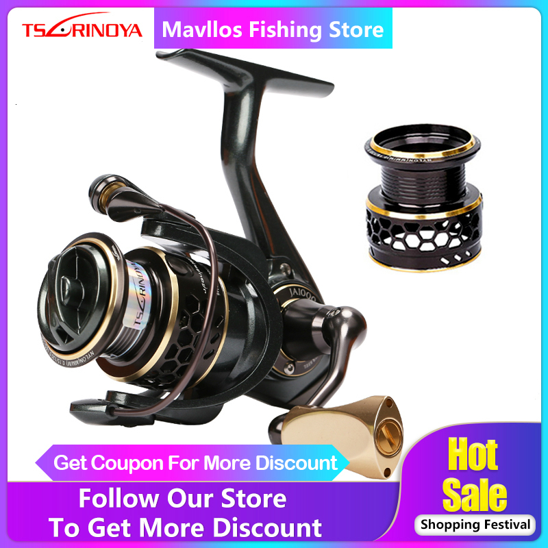 TSURINOYA Jaguar 1000 2000 3000 4000 5000 Spinning Fishing Reel Saltwater Metal Handle 2 Spool Carp Fishing Spinning Reel Coils