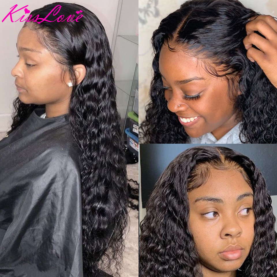 KissLove Deep Wave 13x6 13x4 Lace Front Human Hair Wigs for Black Women Prepluck Glueless Brazilian Curly 5X5HD Lace Closure Wig 3