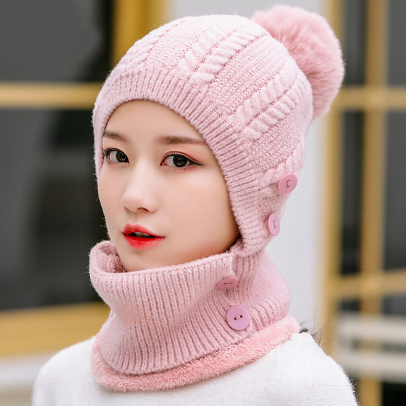 HT2788 Beanies Thick Warm Hat Scarf Set Women Knit Hat Winter Accessory Windproof Riding Ski Earflap Cap Winter Hat With Scarf