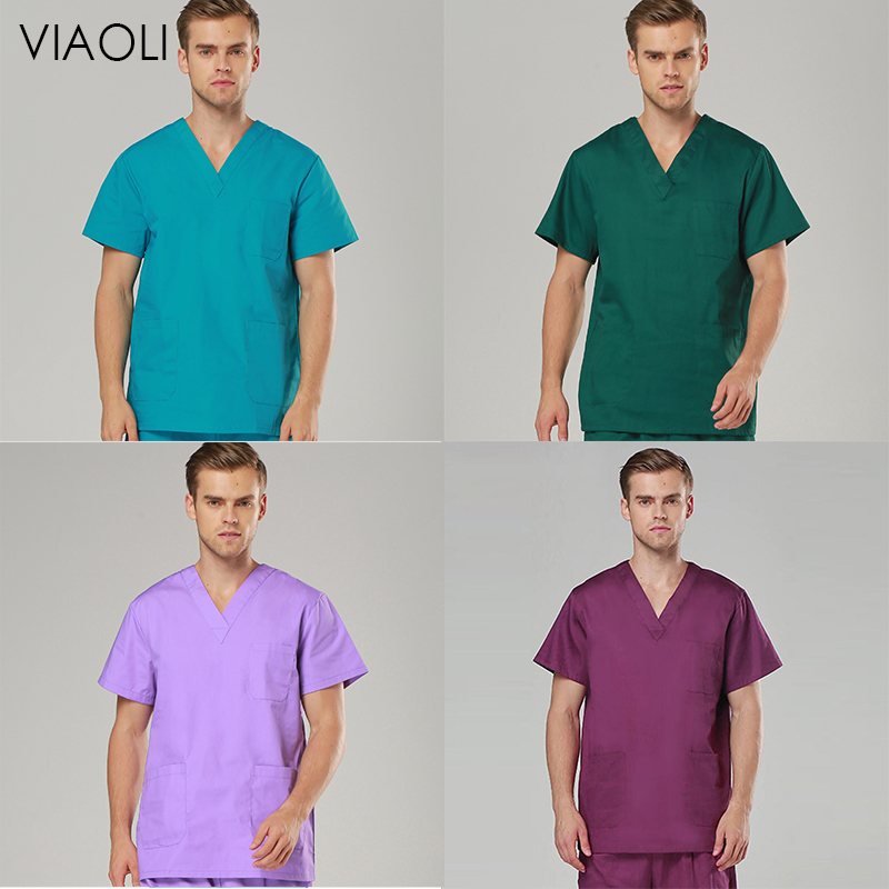 VIAOLI Female Medical Uniforms Classic V-Neck Scrub Tops Pure Cotton Doctor Clothes Nurse Uniform Surgical Clothes Women Scrubs