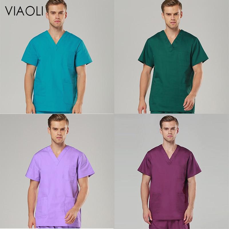 VIAOLI Female Medical Uniforms Classic V-Neck Scrub Tops Pure Cotton Doctor Clothes Nurse Uniform Surgical Clothes Women Scrubs