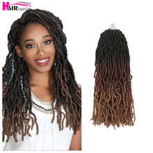 цена на 14inch Goddess Nu Locs Crochet Hair Synthetic Soft Messy Boho Faux Loc Ombre Braiding Hair Extension Natural Look Hair Expo City