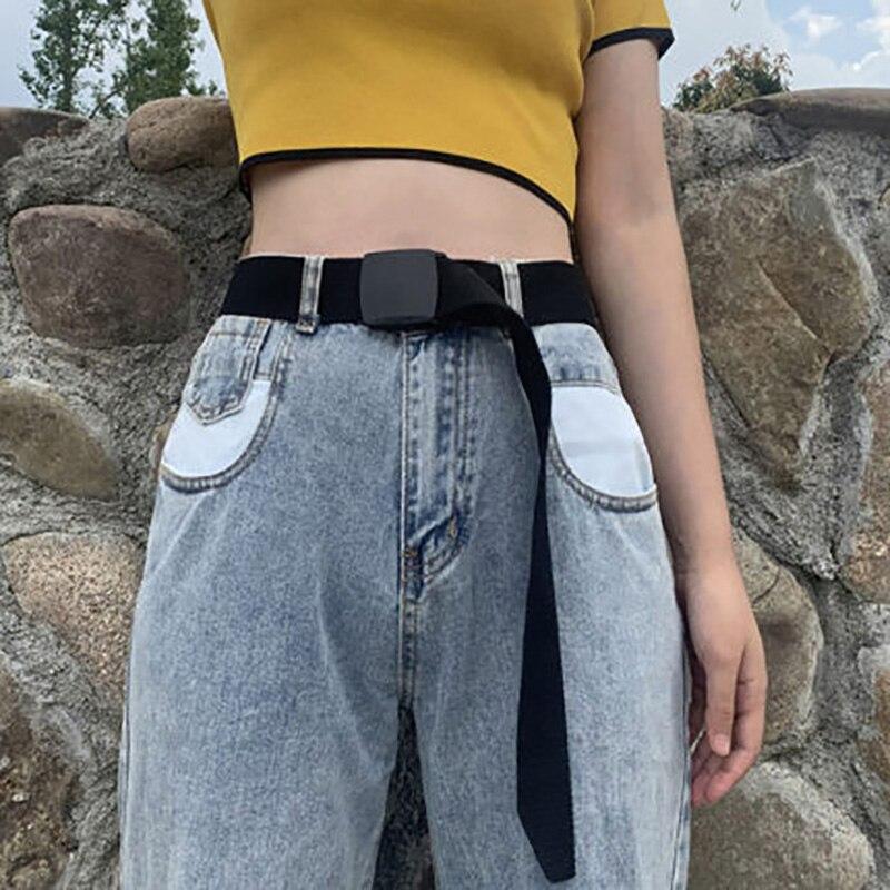 Canvas Belts For Women Men Waist Belt Fashion Plastic Buckle Casual Cowboy Black Red Long Belts For Jeans