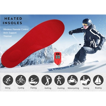 2000MAh Arch Support Heated Insoles with LED Digital Remote Control Thermal Rechargeable Heating Insoles for Skiing Cycling EU P