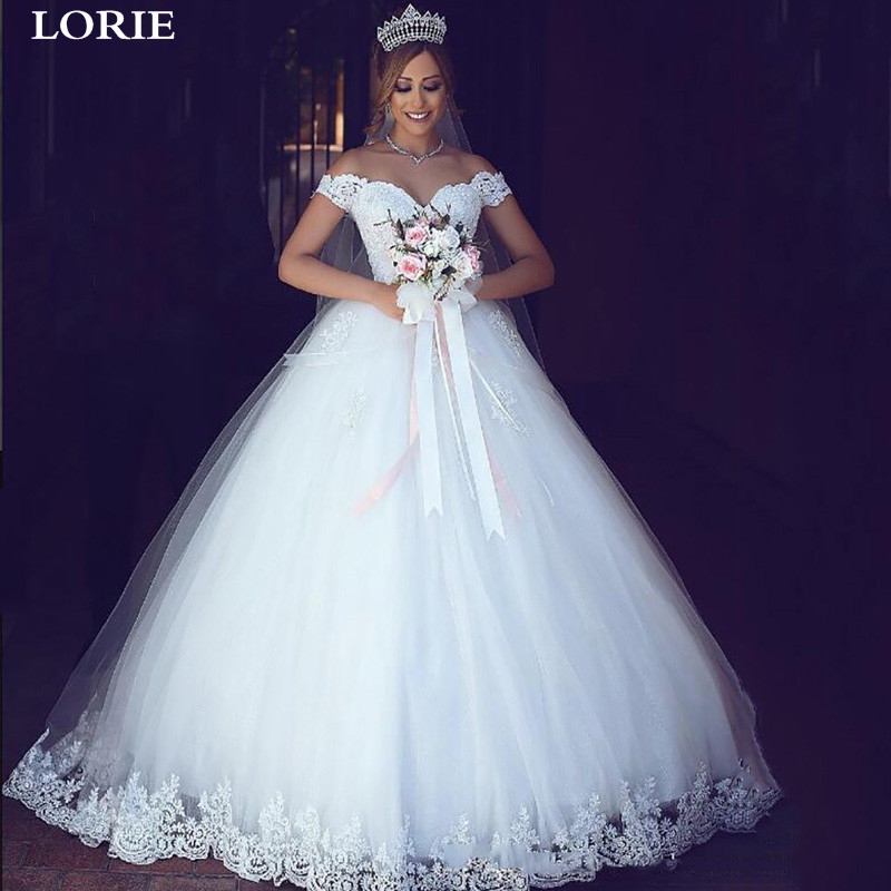 LORIE Princess Wedding Dress Ball Gowns Off The Shoulder Appliqued Lace  Sweetheart Dubai Wedding Bridal Dress Vestido De Noiva