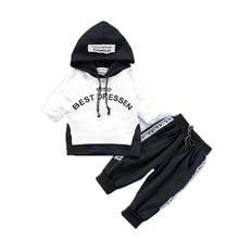 Новые весенне-осенние комплекты детской одежды из хлопка Детская Спортивная футболка с капюшоном и штаны для маленьких мальчиков и девочек детские повседневные костюмы из 2 предметов, спортивные костюмы