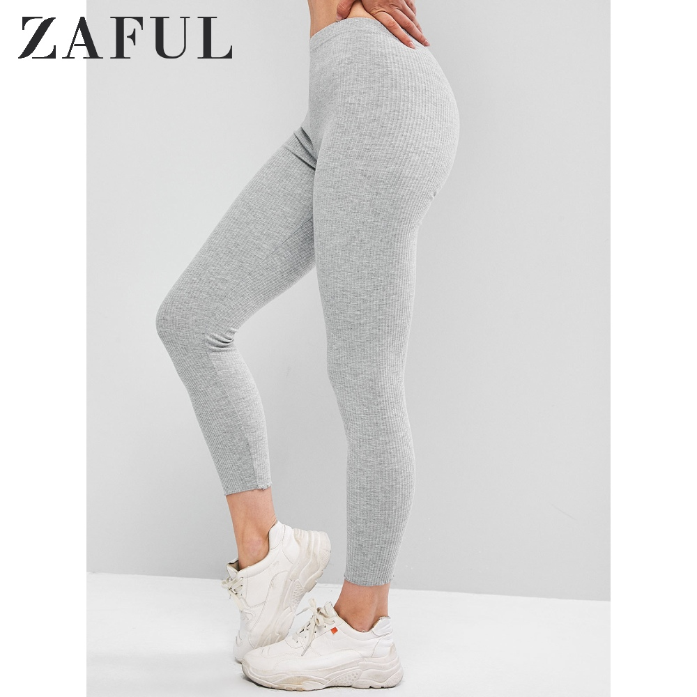 ZAFUL Ribbed Lettuce Hem Knit Leggings One Size 7/8 2019 Autumn Elastic Mid Waist Daily Wear Ladies Bottoms Solid Women Leggings