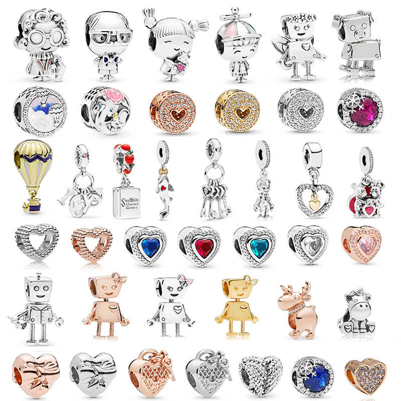 Silver Plated Boy Girls Mickey Unicorn Charms Beads Pendant Fit Pandora Bracelets & Necklace For Women DIY Lovers Jeweley Making
