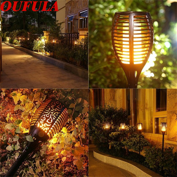 Solar Flame Lawn Light  Torch Waterproof Outdoor Garden Control Induction Landscape Lights IP65 96 LEDS