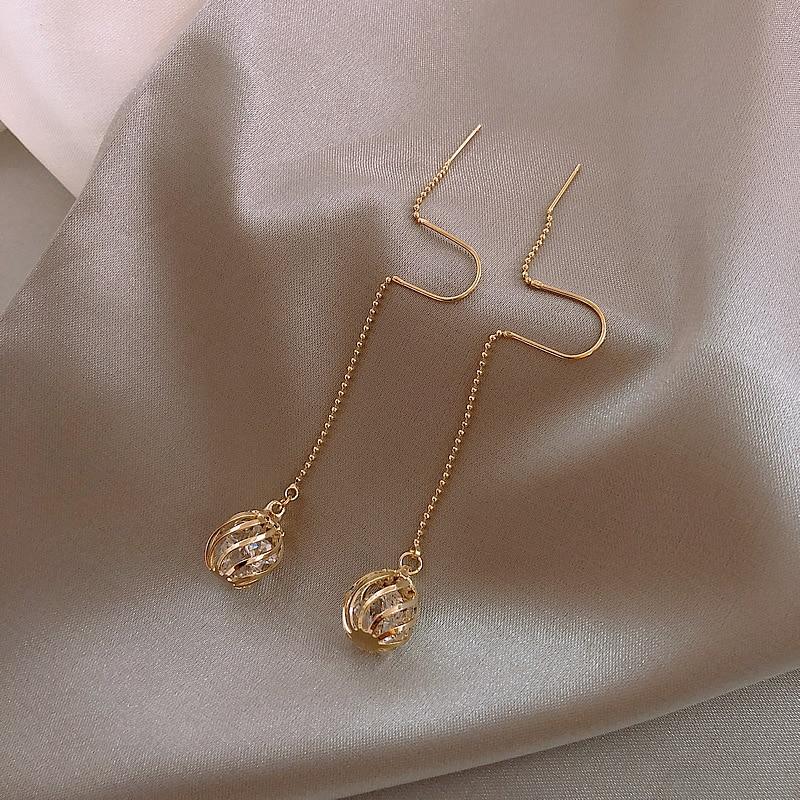 Dominated Women Korean Long tassels metal hollow ball design fine crystal Drop earrings 2019 Classic style New earrings Jewelry