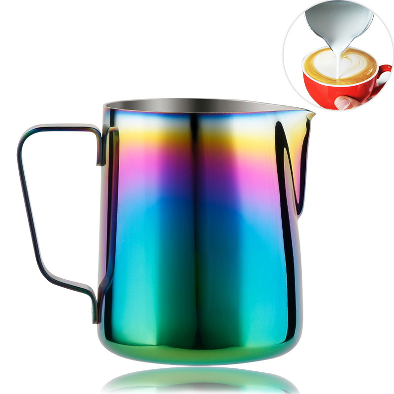 Milk Frothing Pitcher Stainless Steel, Rainbow Color Custom Coffee Mugs, Milk Steaming Frother for Espresso Machines