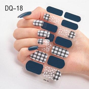 14pcs/sheet Glitter Gradient Color Nail Stickers Nail Wraps Full Cover Nail Polish Sticker DIY Self-Adhesive Nail Art Decoration 119