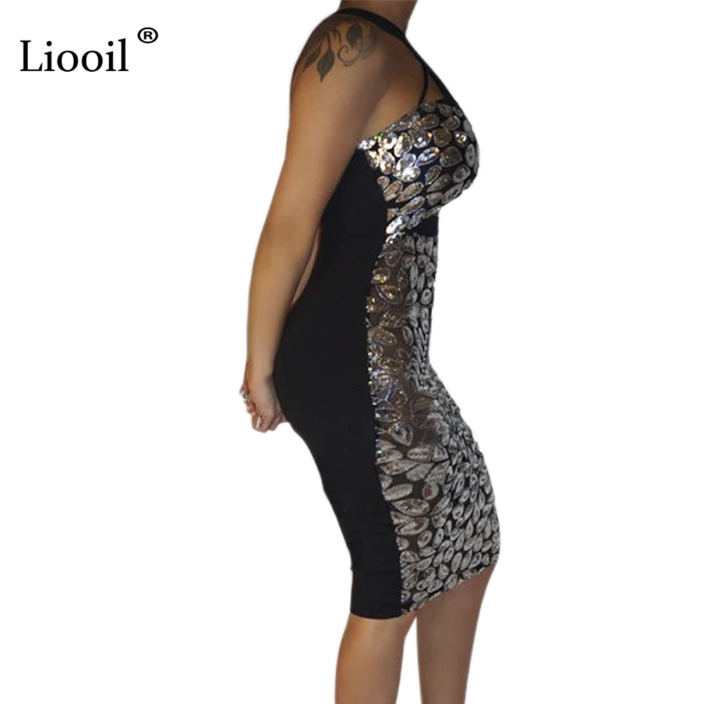 Liooil Sexy Sequin Bodycon Midi Dress Autumn 2019 Asymmetrical Hollow Out Tight Fitted Dresses Woman Party Night Club Outfits