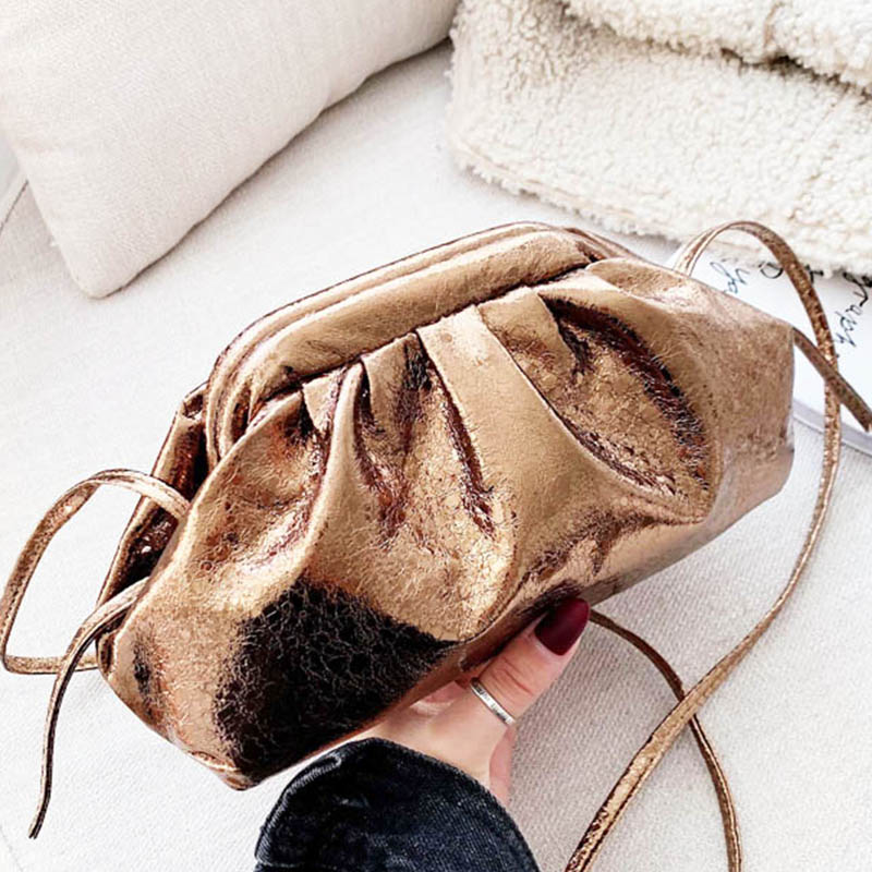 Retro Handbag Leather Hobo Bags For Women 2019 New Classic Cloud The Pouch Retro Day Clutch Bag Small Pillow Bag Small Tote Gold
