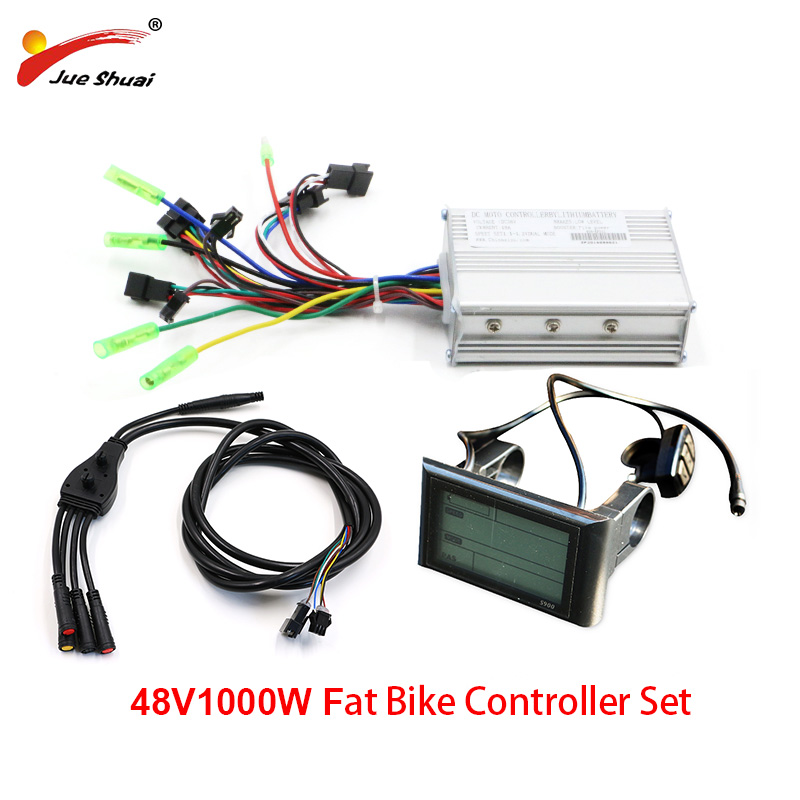 Fat <font><b>Bike</b></font> Electric <font><b>Controller</b></font> Set 48V 1000W Sine Wave <font><b>Controller</b></font> <font><b>LCD</b></font> <font><b>Display</b></font> Main Cable for Fat Tire Electric Bicycle Ebike Kit image