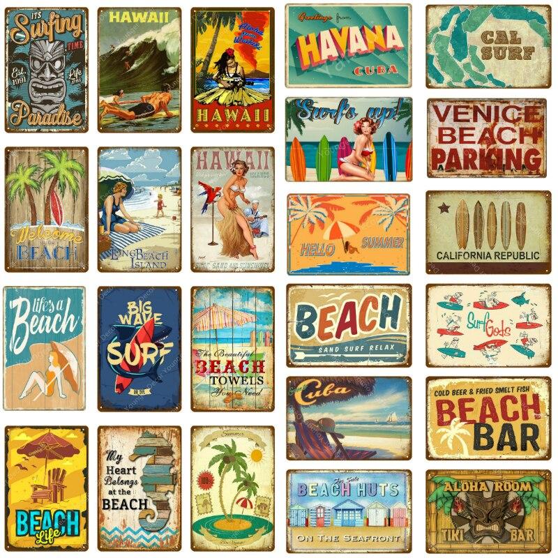 Aloha Room Tiki Bar Decor Vintage Cal Surf Poster Life Is A Beach Metal Signs Wall Art Painting Plate Seaside Club Plaque YJ129(China)