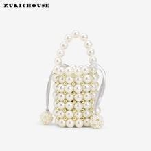 ZURICHOUSE Brand Handbags Women Luxury Personality Handmade Beaded Pearls Bag Ladies Mini Bucket Shape Shoulder Crossbody Bags