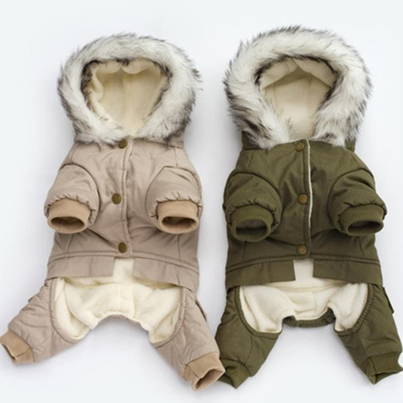 Высококачественная зимняя теплая одежда для собак с капюшоном, утепленное хлопковое пальто для щенков, куртки для чихуахуа, одежда для собак, комбинезон-0