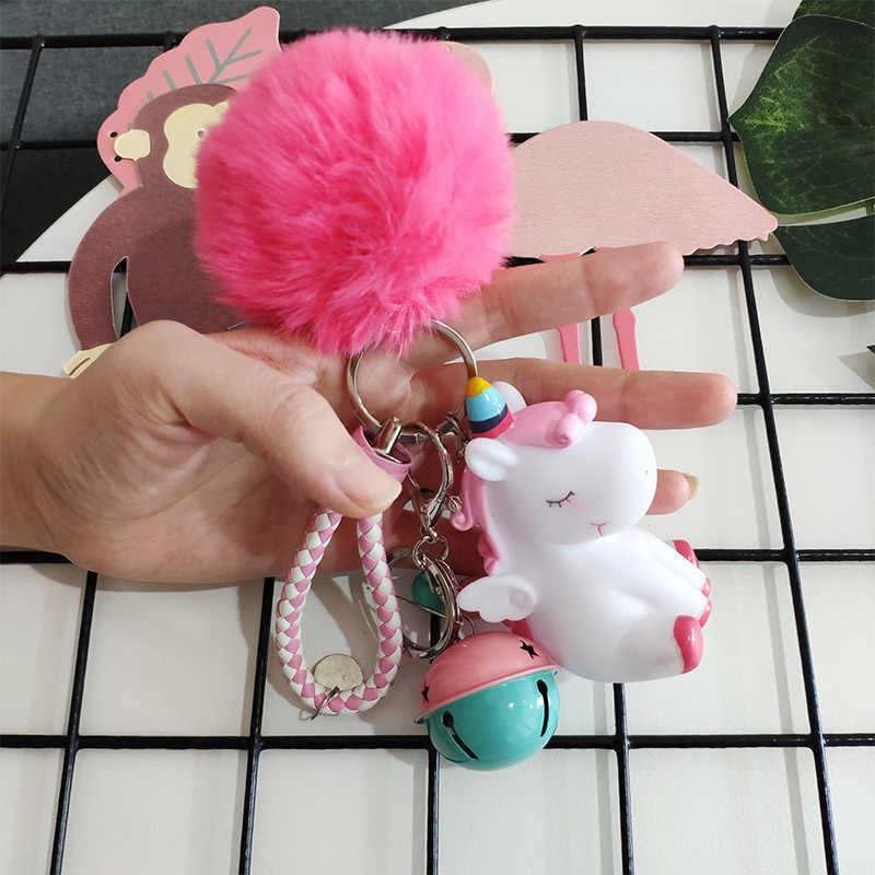 لطيف أفخم يونيكورن المفاتيح النساء الفراء بوم بوم منفوش الكرة جرس فو الأرنب الشعر حلقة رئيسية Kawaii دميات لعبة الفتيات حقيبة مفتاح قلادة