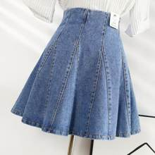 Women Summer Mini Pleated Denim Skirts Vintage Retro High Waist Umbrella Denim Skirt A Line Femininas Skirts DV693(China)