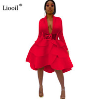 Liooil Sexy Ruffle Midi Dress Women Club Wear Outfits 2019 Long Sleeve V Neck High Waist Black Red Dresses Woman Party Night Out
