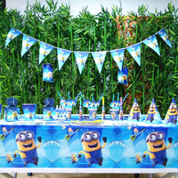132pcs/bag Flags Tablecloth Straws Cups Plates Minions And Other Party Supplies Kids Birthday Party Supplies Decoration favors