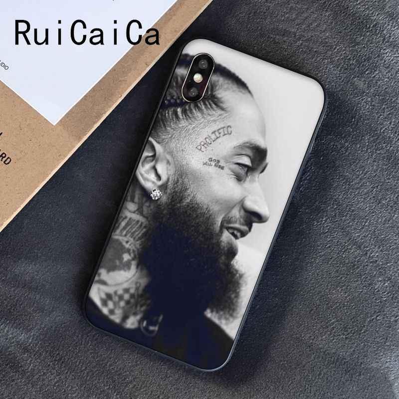 Ruicaica Rappeur Nipsey Hussle bricolage Peint Téléphone étui pour iphone 8 7 6 6S 6plus X XS MAX 5 5S SE XR 10 Couverture