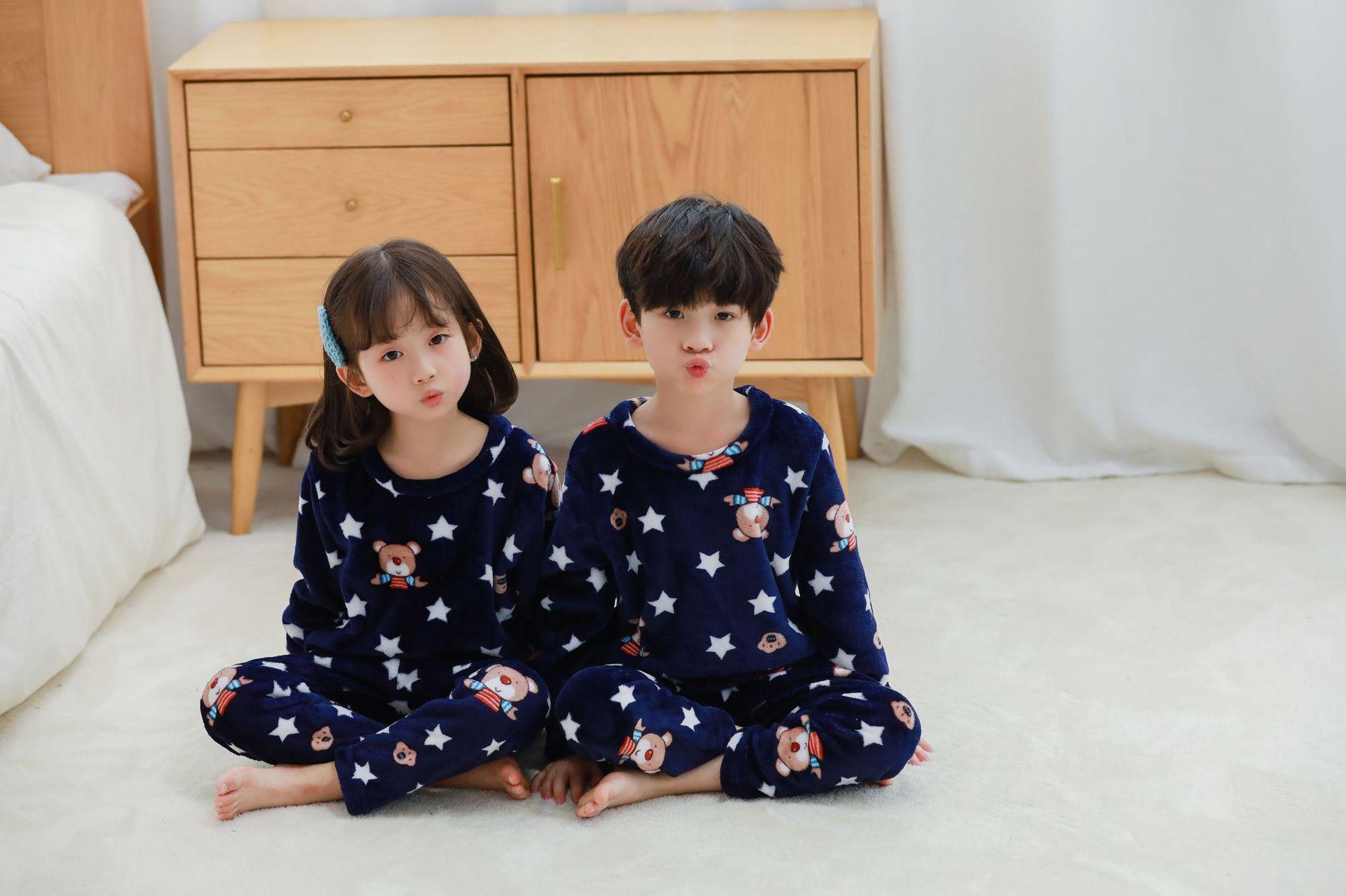 Children Flannel Animal Cartoon Pajamas Suit Long Sleeve Cartoon Autumn And Winter Men And Women Baby Pajamas