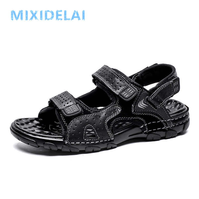 New Men Shoes Genuine Leather Men Sandals Summer Men Causal Shoes Beach Sandals Man Fashion Outdoor Casual Sneakers Size 38-46