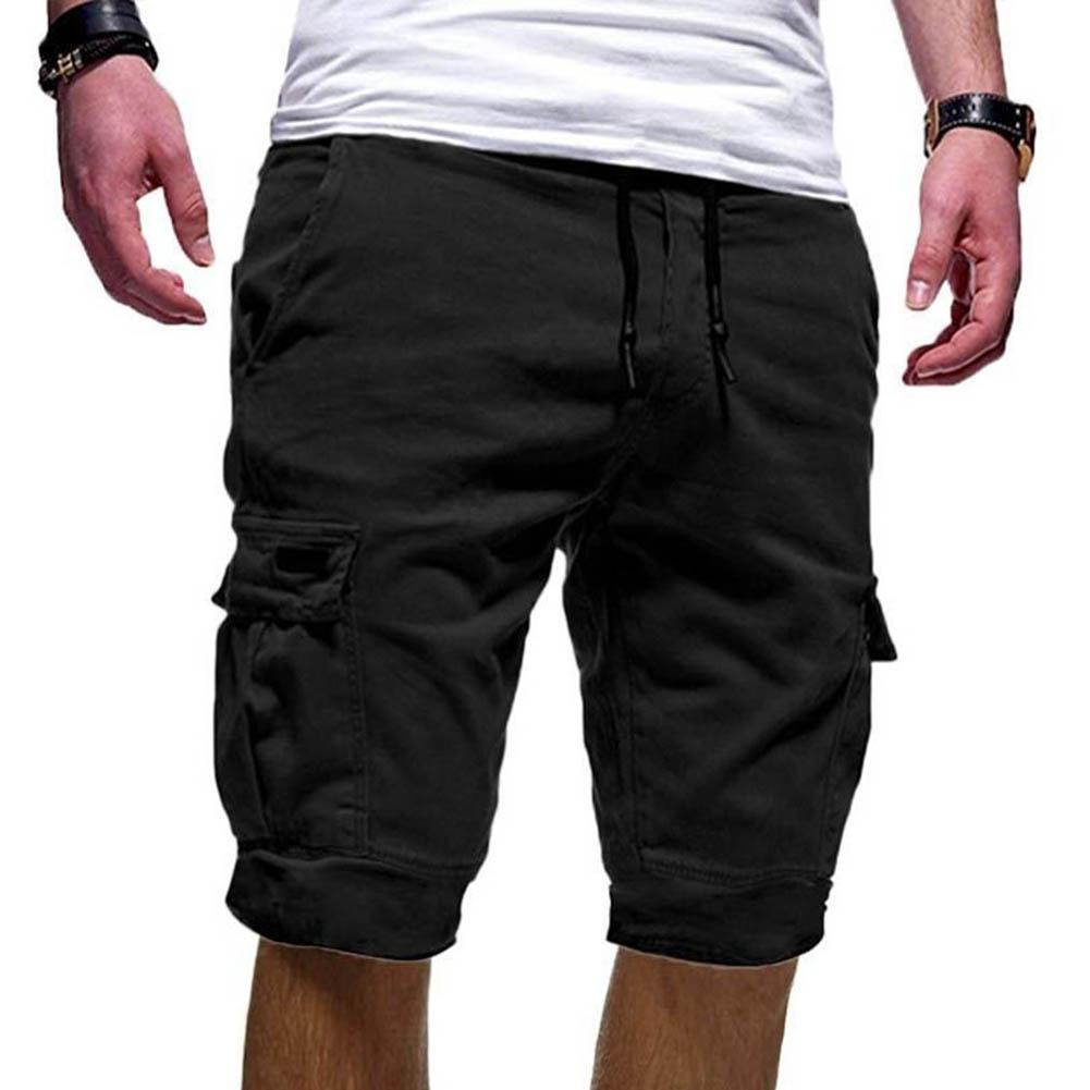 Men's Summer Casual Men Solid Color Cargo Shorts Multi-Pockets Drawstring Fifth Pants Plus Size Sports Shorts Male Streetwear