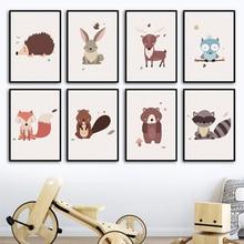 Cartoon Deer Fox Rabbit Bear Owl Nursery Wall Art Canvas Painting Nordic Posters And Prints Wall Pictures Baby Kids Room Decor cartoon cute rabbit bear quote nursery wall art canvas painting nordic posters and prints wall pictures for baby kids room decor