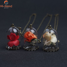 Beauty and The Beast Enchanted Rose in Terrarium Mirror Charm Necklace Pendant