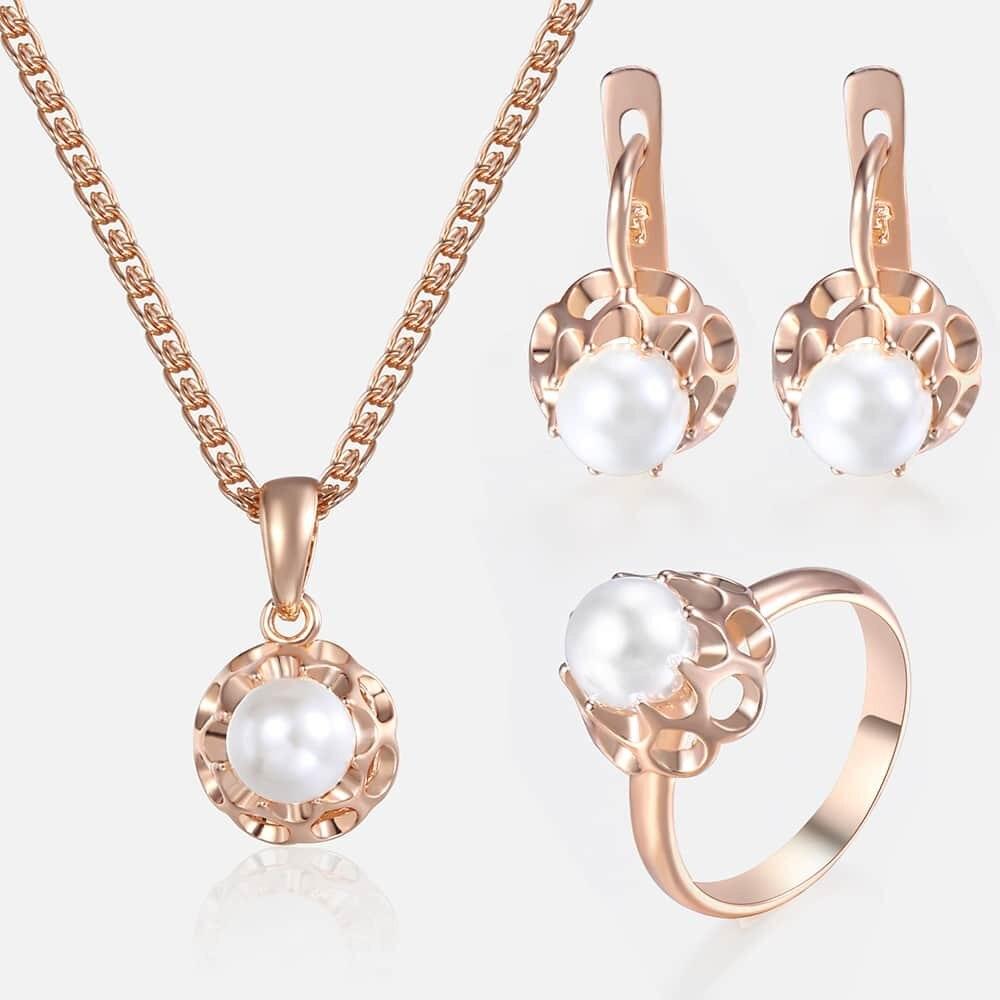 Jewelry Set For Women Girls 585 Rose Gold Pearl Earrings Ring