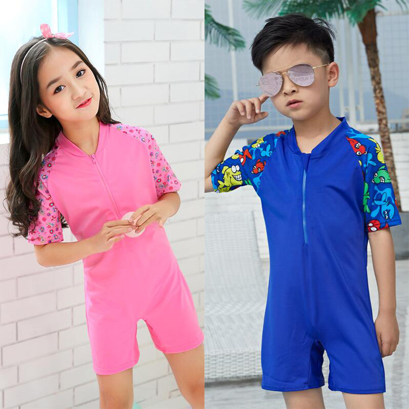 KID'S Swimwear Women's One-piece 2019 New Style Korean-style Primary School STUDENT'S 3-10-Year-Old Men And Women Children Surf